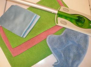 My microfiber cloths and my swiffer